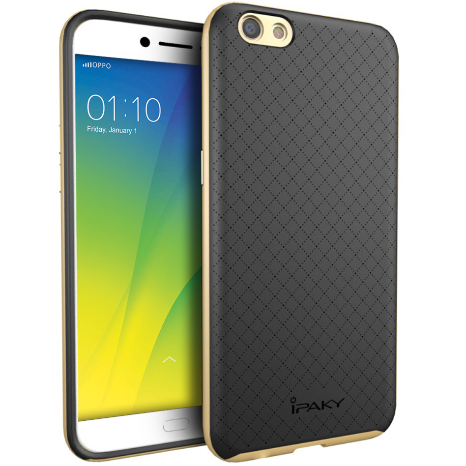 iPaky Hybrid Bumper Frame Case for Oppo R9s - Gold ... d435f6d0aa344