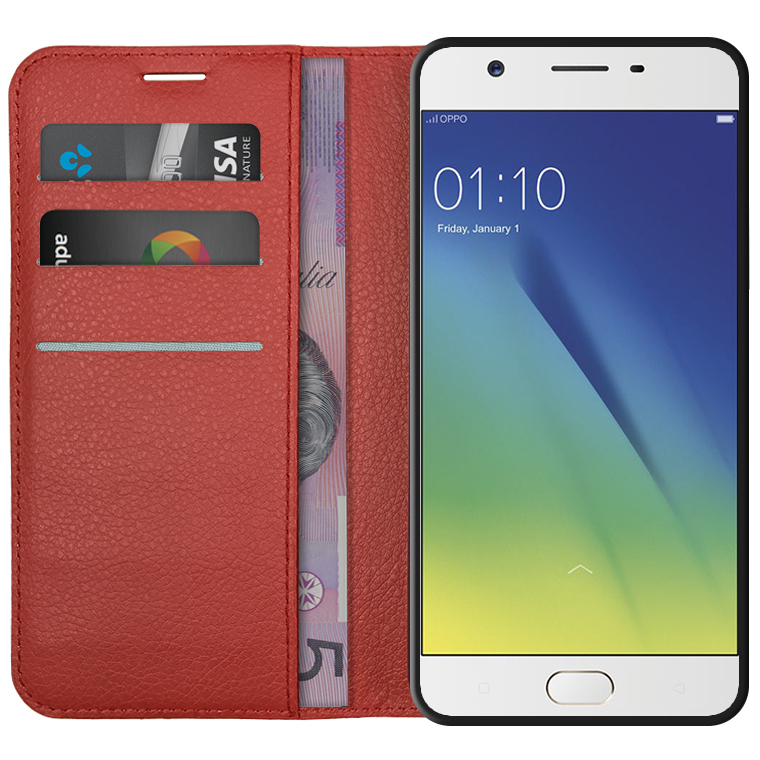 brand new f171c c43e3 Leather Wallet Case for Oppo A57 (Red)