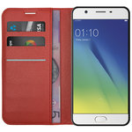 Leather Wallet Case & Card Holder & Stand for Oppo A57 - Red