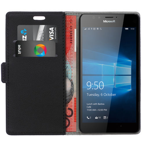 Leather Wallet Case & Card Holder for Microsoft Lumia 950 - Black