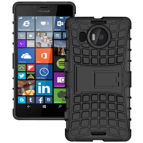 Dual Layer Rugged Tough Shock Case for Microsoft Lumia 950 XL - Black
