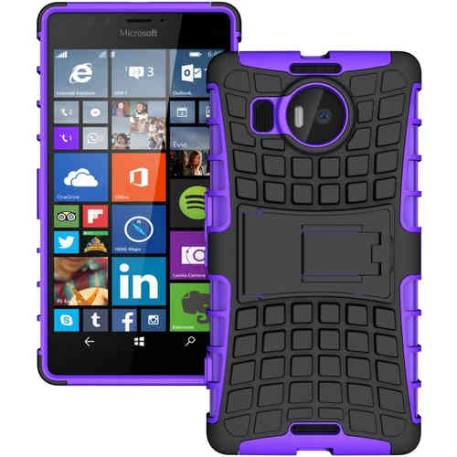 Dual Layer Rugged Tough Shock Case for Microsoft Lumia 950 XL - Purple