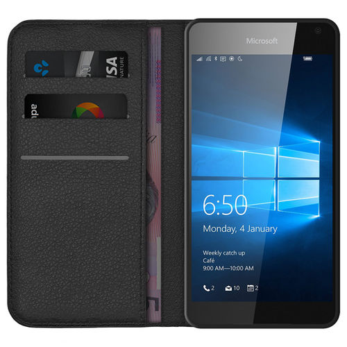 Leather Wallet Flip Case & Card Holder for Microsoft Lumia 650 - Black