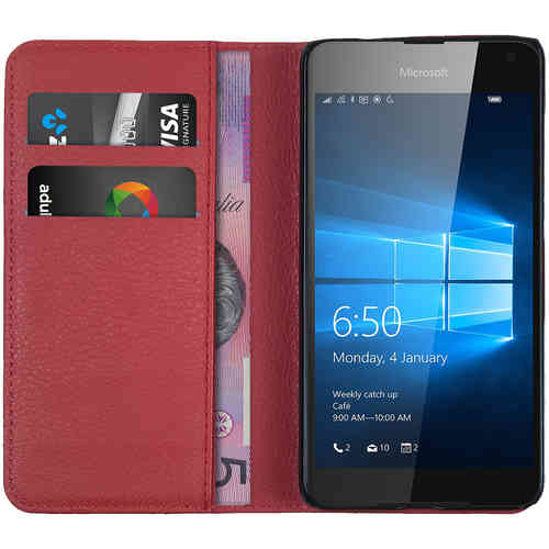 Leather Wallet Flip Case (Card Holder) for Microsoft Lumia 650 - Red