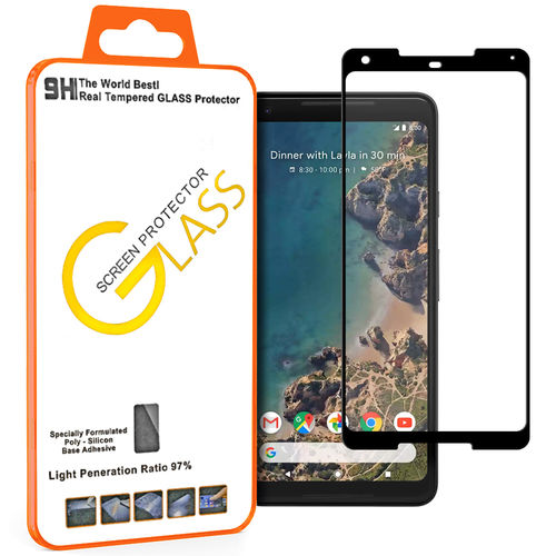 Full Tempered Glass Screen Protector - Google Pixel 2 XL - Black Frame