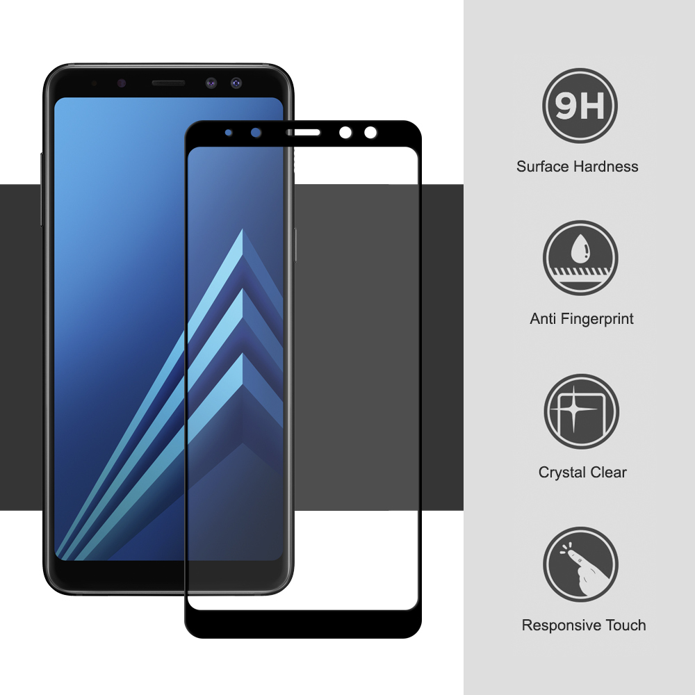 black tempered glass screen protector samsung galaxy a8 2018. Black Bedroom Furniture Sets. Home Design Ideas
