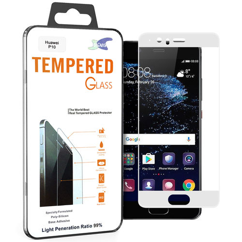 Full Coverage Tempered Glass Screen Protector for Huawei P10 - White