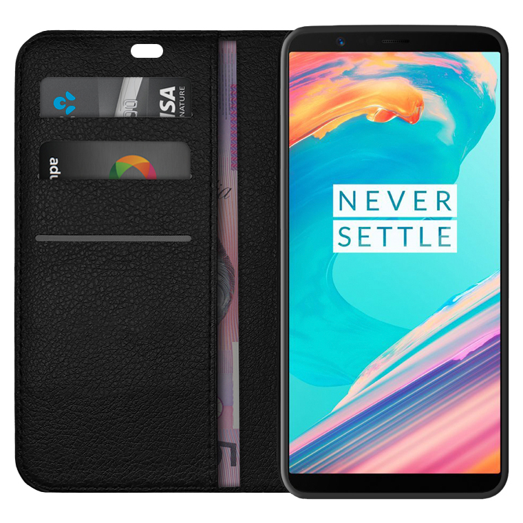 buy online 98987 20070 Leather Wallet Case for OnePlus 5T (Black)