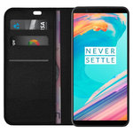 Leather Wallet Case & Card Slot Holder for OnePlus 5T - Black