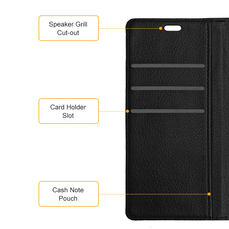 buy online 9d728 61380 Leather Wallet Case for OnePlus 5T (Black)