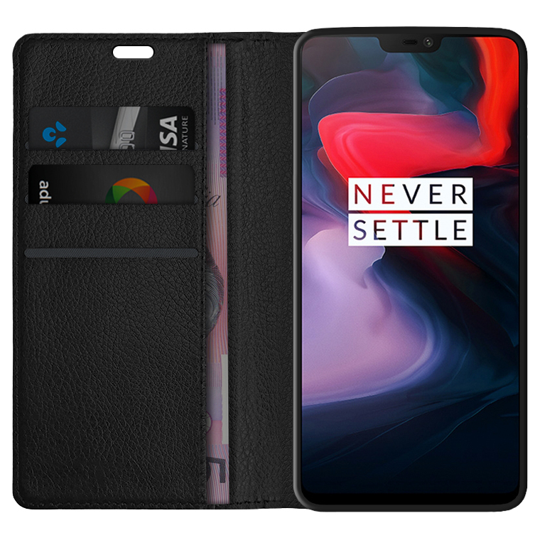 newest ebc47 bedc4 Leather Wallet Case & Card Holder for OnePlus 6 (Black)