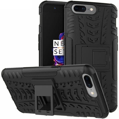 Dual Layer Rugged Tough Shockproof Case for OnePlus 5 - Black