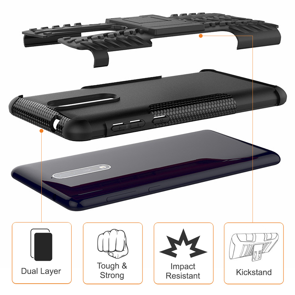 first rate b6483 1e2d9 Dual Layer Tough Shockproof Case & Stand - Nokia 8 (Black)