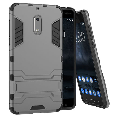 Slim Armour Rugged Tough Shockproof Case for Nokia 6 (2017) - Silver