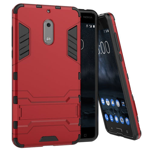 Slim Armour Rugged Tough Shockproof Case for Nokia 6 (2017) - Red