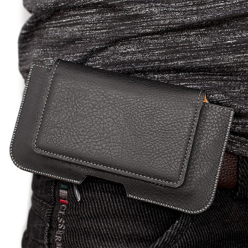 Executive XXL Leather Wallet Carry Case Pouch & Belt Clip for Phones