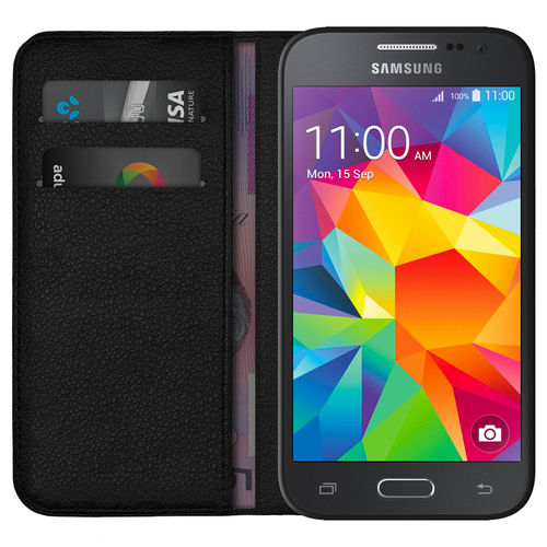 Leather Wallet Case & Card Holder - Samsung Galaxy Core Prime - Black