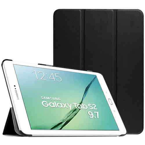 Smart Trifold Leather Case Stand for Samsung Galaxy Tab S2 9.7 - Black