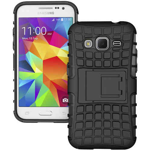 Dual Layer Rugged Tough Case for Samsung Galaxy Core Prime - Black