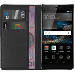 Leather Wallet Case & Card Slot Holder Pouch for Huawei P8 - Black