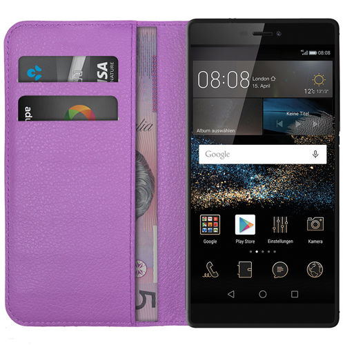 Leather Wallet Case & Card Slot Holder Pouch for Huawei P8 - Purple