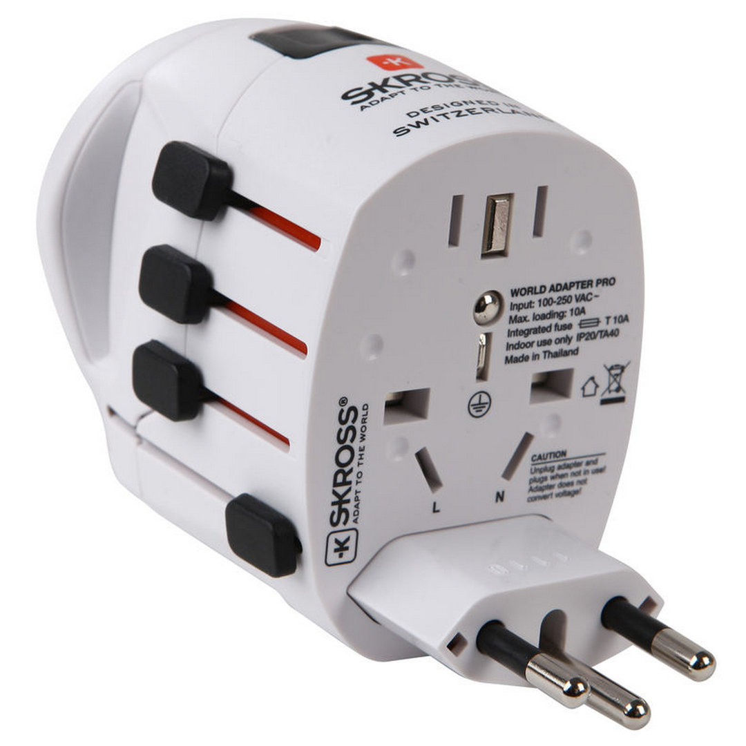 Skross Pro World Travel Adapter Amp Usb Charger 3 Pole