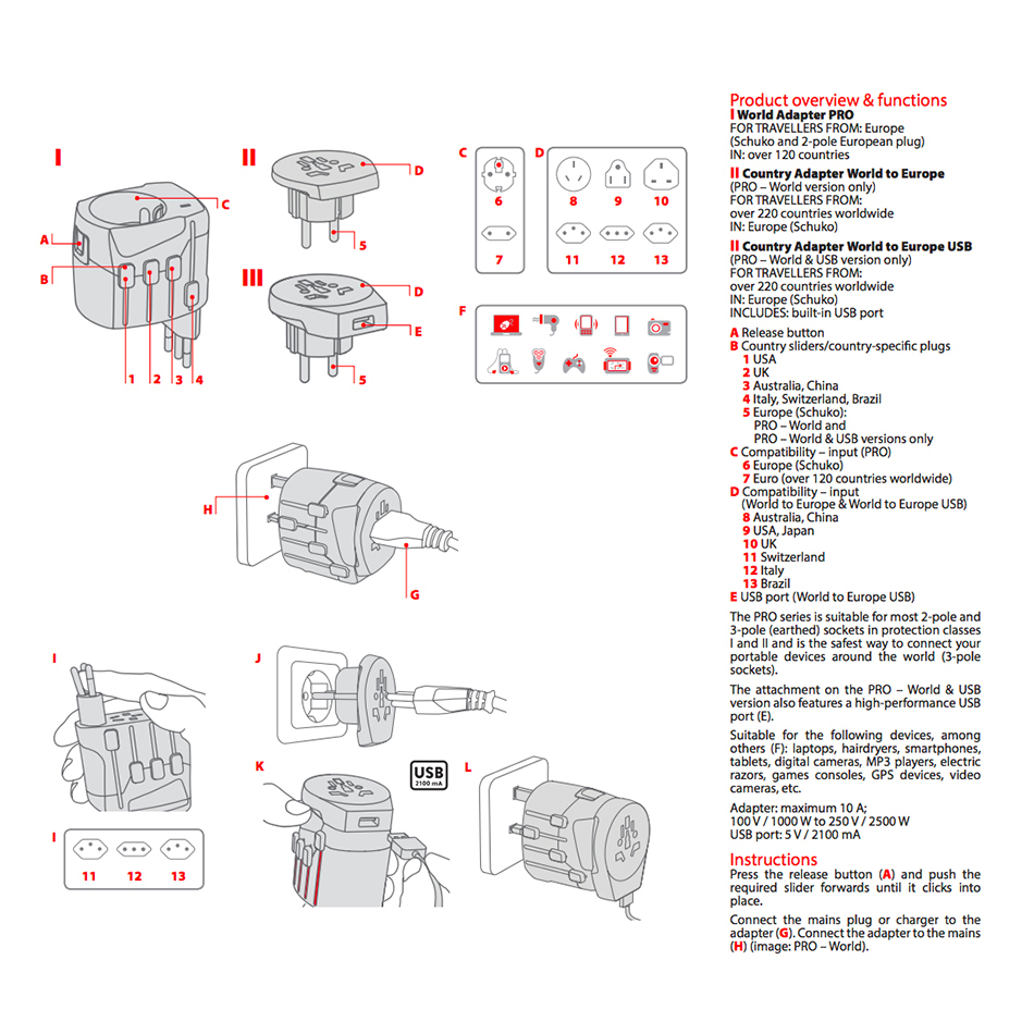 Skross Pro World Usb Travel Adapter High Power Charger 3 Pole Italian Plug Wiring Diagram 10a