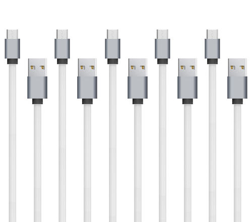 2m Long Flat TPE Micro USB Fast Charging Data Cable (5-Pack) - White