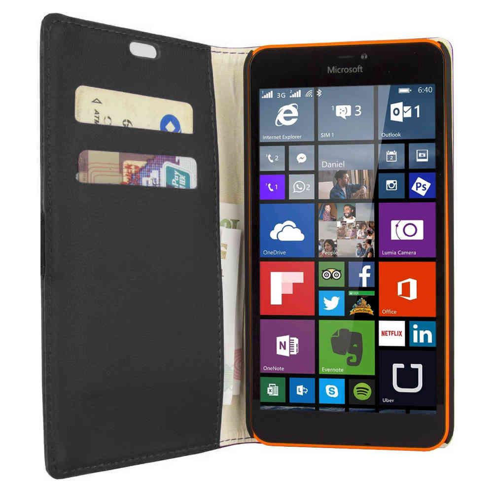 premium selection b1d78 45a42 Leather Wallet Case - Microsoft Lumia 640 XL (Black)