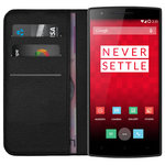 Leather Wallet Case & Card Slot Holder Pouch for OnePlus One - Black