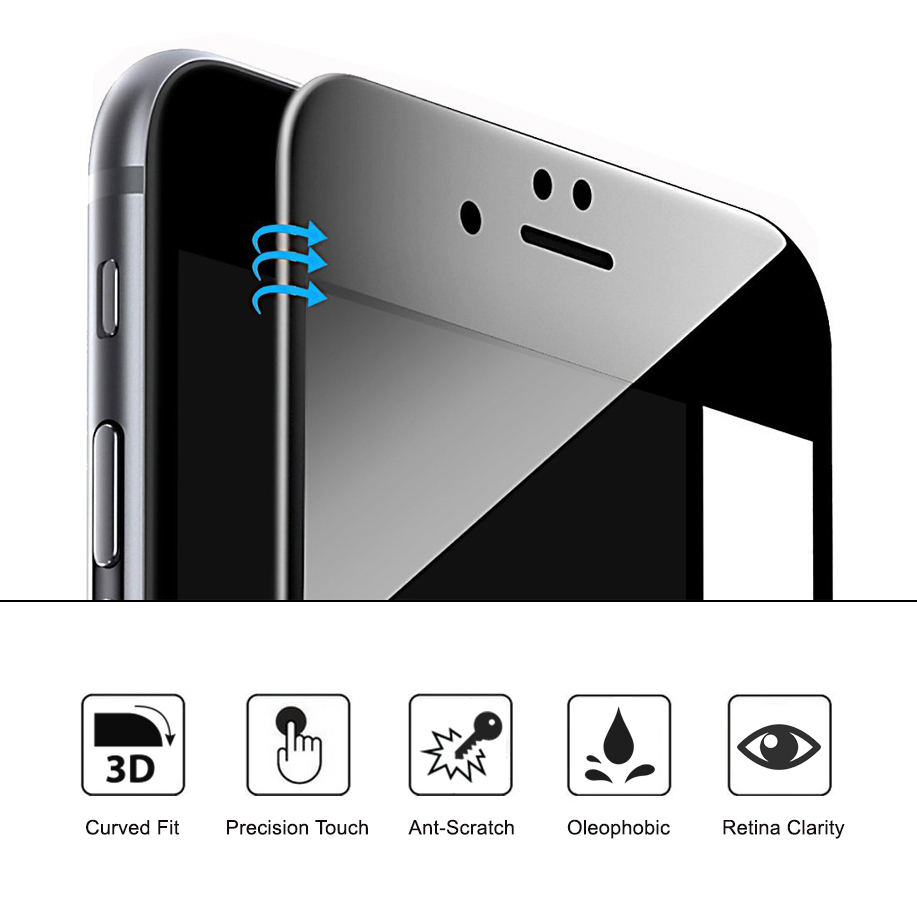 pick up 94799 930cd Black Curved Tempered Glass Screen Protector - Apple iPhone 8 / 7