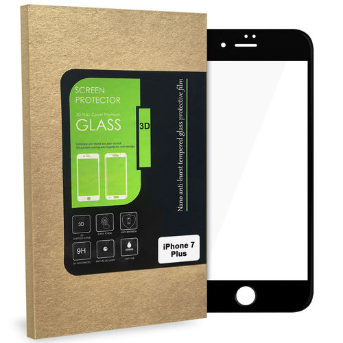 3D Tempered Glass Screen Protector - Apple iPhone 8 / 7 Plus - Black