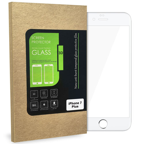 3D Tempered Glass Screen Protector - Apple iPhone 8 / 7 Plus - White