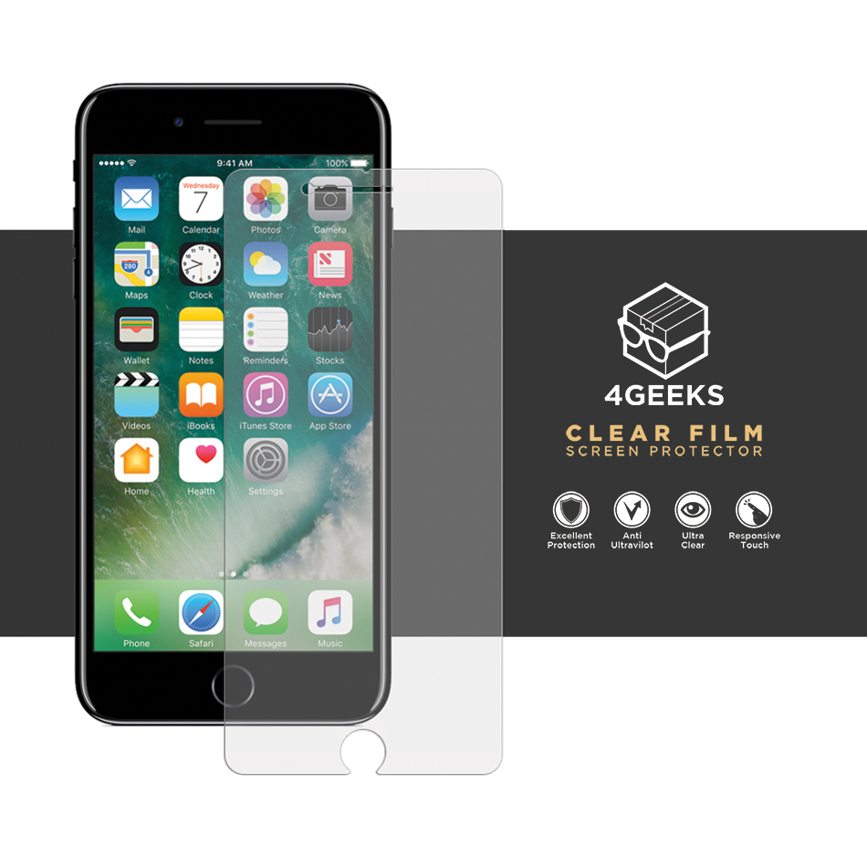 4geeks pet clear film screen protector apple iphone 8 7. Black Bedroom Furniture Sets. Home Design Ideas