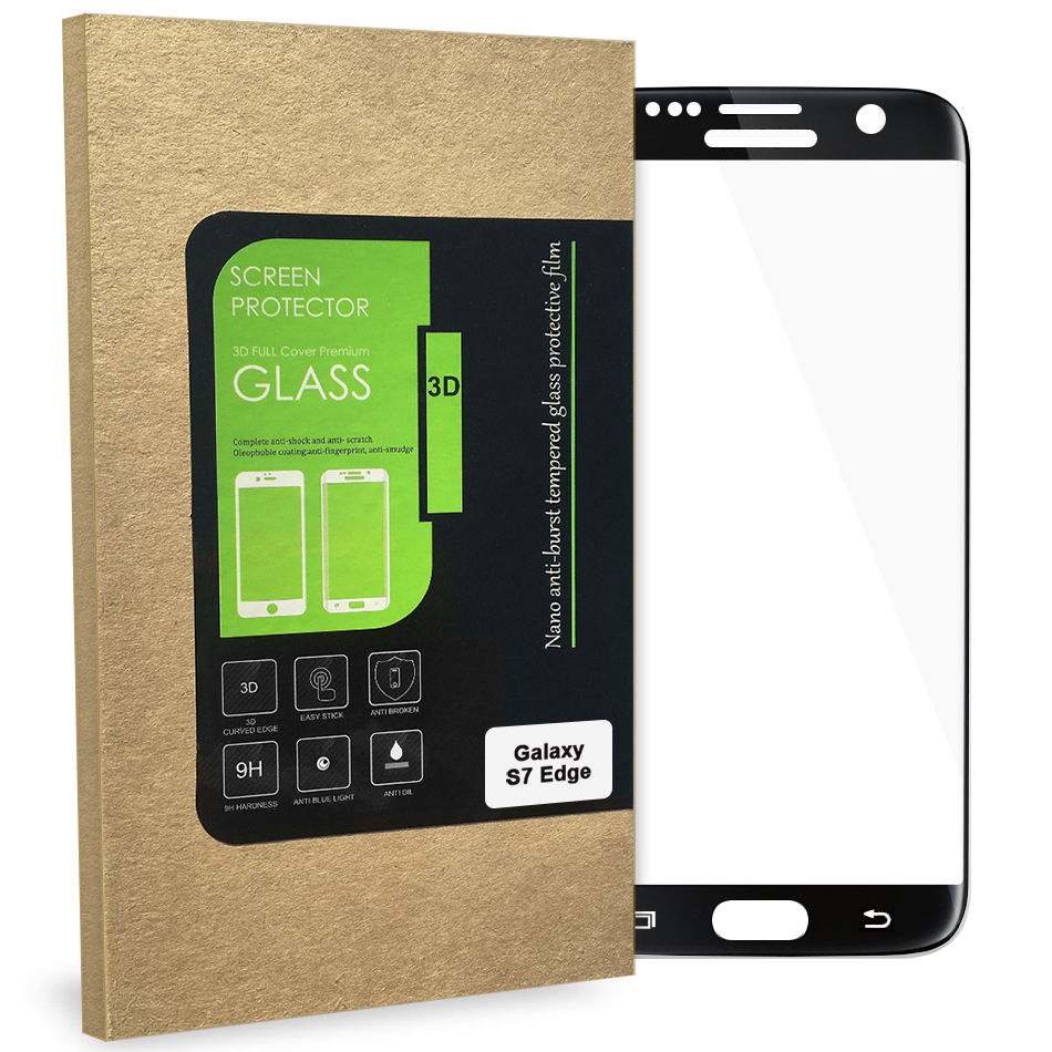 c08935f8552 3D Tempered Glass Screen Protector for Samsung Galaxy S7 Edge - Black ...