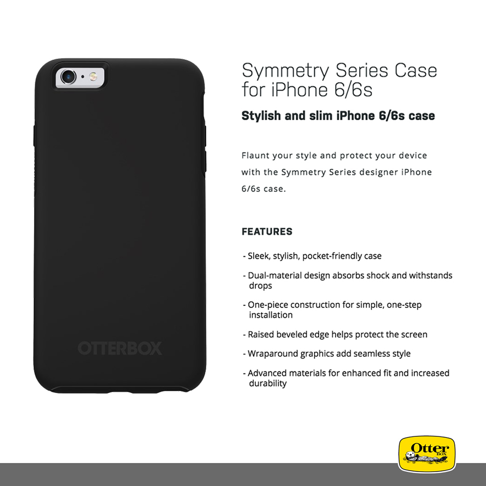 Otterbox Symmetry Case For Apple Iphone 6s Black My 6 Clear Shockproof