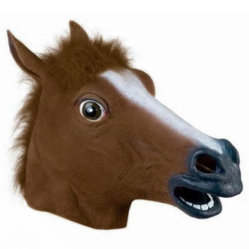 Novelty Latex Brown Horse Head Mask for Halloween Costume Party