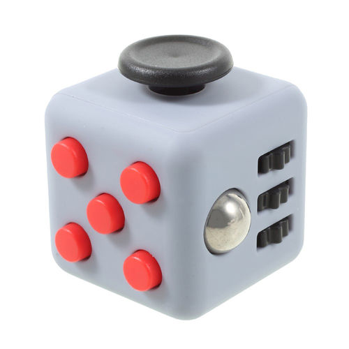 Fidget Cube - Anti-Stress & Anxiety Reliever Play Toy - Grey / Red