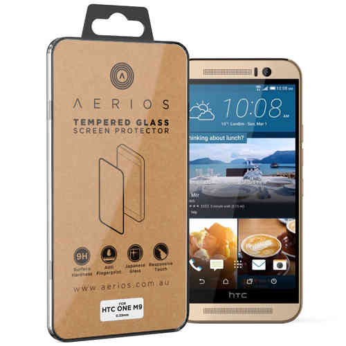 Aerios 9H Tempered Glass Screen Protector for HTC One M9 - Clear