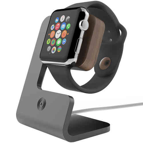Aerios Moduul Desktop Docking Stand for Apple Watch - Black (Walnut)