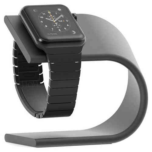 U-Shape Aluminium Desk Stand & Charger Holder for Apple Watch - Black