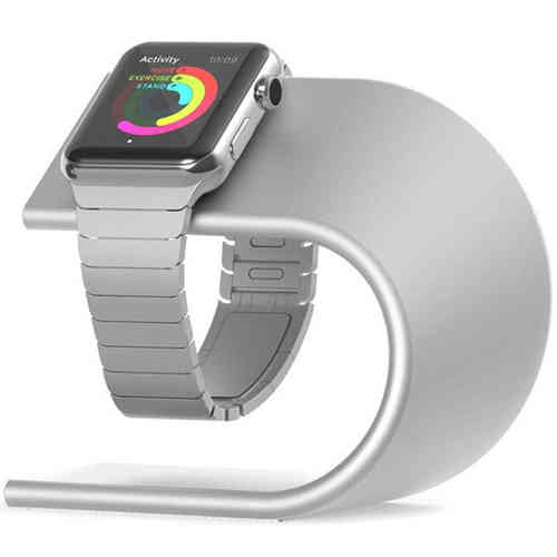 U-Shape Aluminium Desk Stand & Charger Holder for Apple Watch - Silver