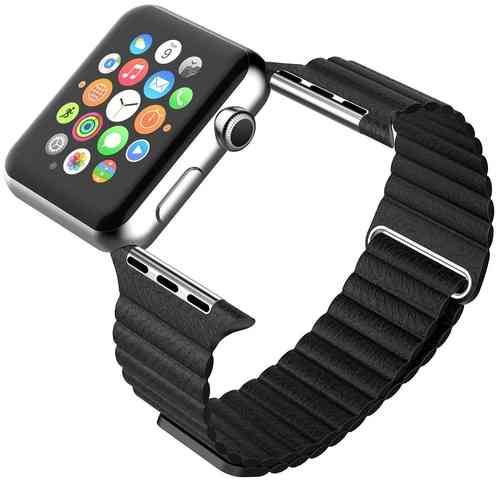 Leather Loop Band with Magnetic Strap for Apple Watch 38mm - Black