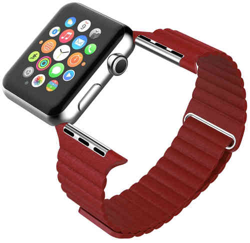 Leather Loop Band with Magnetic Strap for Apple Watch 38mm - Red