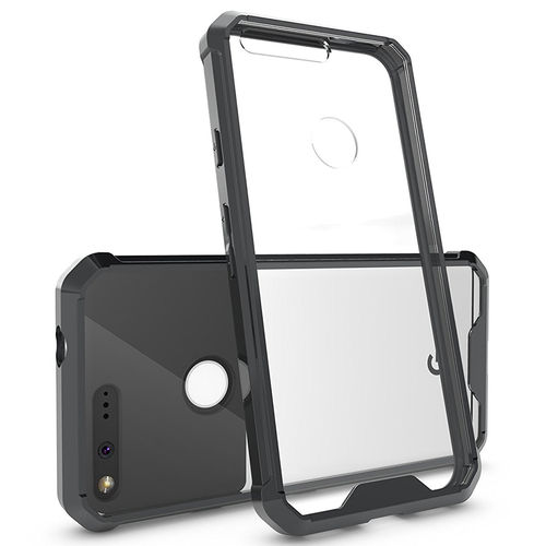 Hybrid Fusion Frame Bumper Case for Google Pixel Phone - Black (Clear)