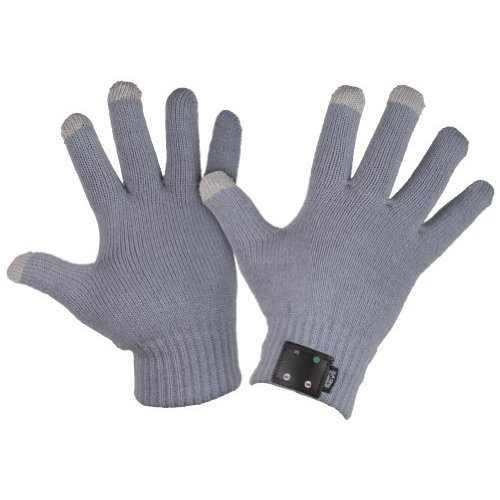 Bluetooth Knitted Gloves with Phone Call Speaker & Microphone - Grey