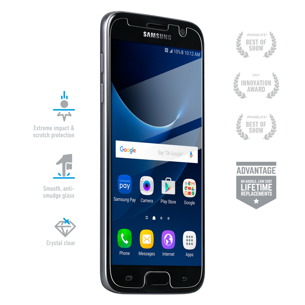 bodyguardz pure tempered glass for samsung galaxy s7. Black Bedroom Furniture Sets. Home Design Ideas