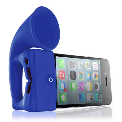 Bone Horn Audio Amplifier Stand for Apple iPhone 4 / 4s - Dark Blue
