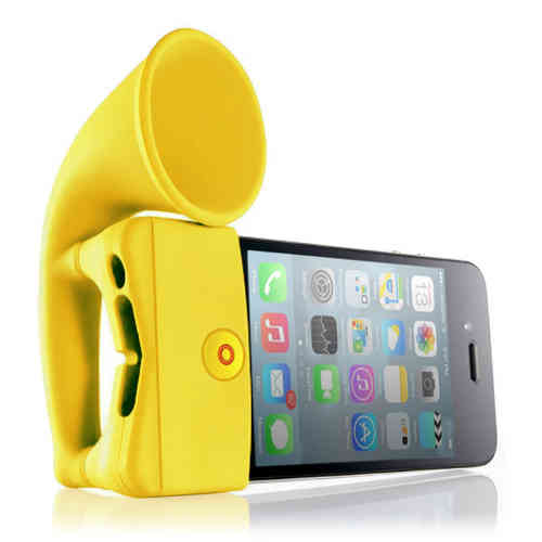 Bone Horn Audio Amplifier Stand for Apple iPhone 4 / 4s - Yellow