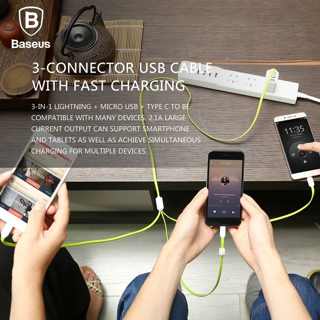 Baseus Cable Rapid Series 3 In 1 Micro Usb Lightning Type C 3a 2m 12m Iphone Ipad Android